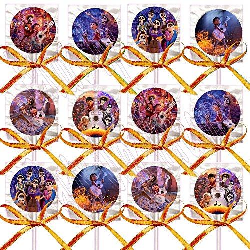 Movie Themed Parties Ideas (Coco Lollipops Movie, Miguel, Hector Party Favors Supplies Decorations Lollipops with Orange Ribbon Bows Party Favors -12 pcs Dia de Los Muertos Day of The)