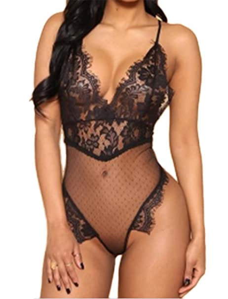 bf05bbd514e3 Aranmei Lingerie for Women Teddy One Piece Lace Babydoll Bodysuit, Black,  Small