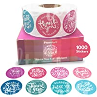 Howcrafts Thank You Stickers Roll of 1000, 8 Designs, 1.5 Inch | Thank You Sticker Roll Boutique Supplies for Business Packaging | Thank You Stickers 1000 for Bubble Mailers & Bags…