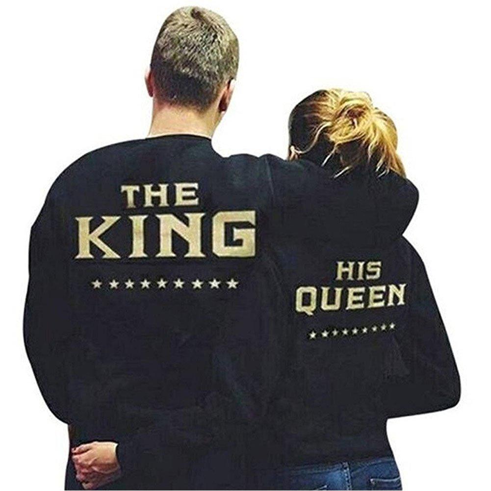 Minetom Couple Sweatshirt Pullover Femme Homme Col Rond Manches Longues Imprimé Lettre De King Queen Tops Pull Blouse Amants Cadeaux MT170828SS-DE11