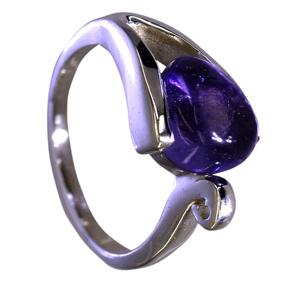 Gemsonclick Genuine Amethyst Ring For Women Silver Pear Cut Bezel Style Handmade Size 5,6,7,8,9,10,11