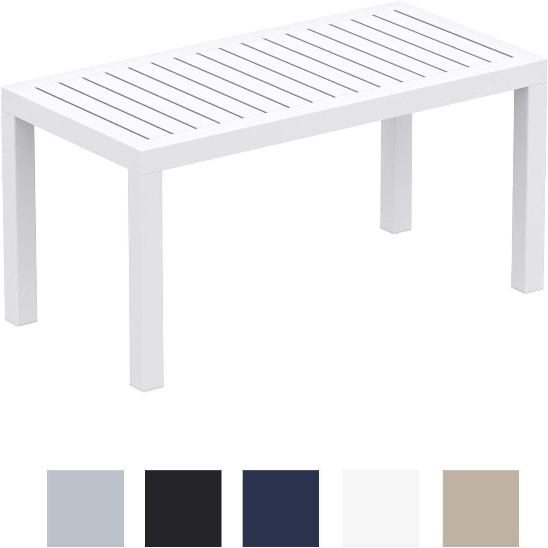 CLP Mesa Lounge Ocean Moderna I Mesa De Jardín Impermeable I Mesa De Plástico Resistente A Los Rayos UV I Mesa De Exterior Robusta I Color: Blanco