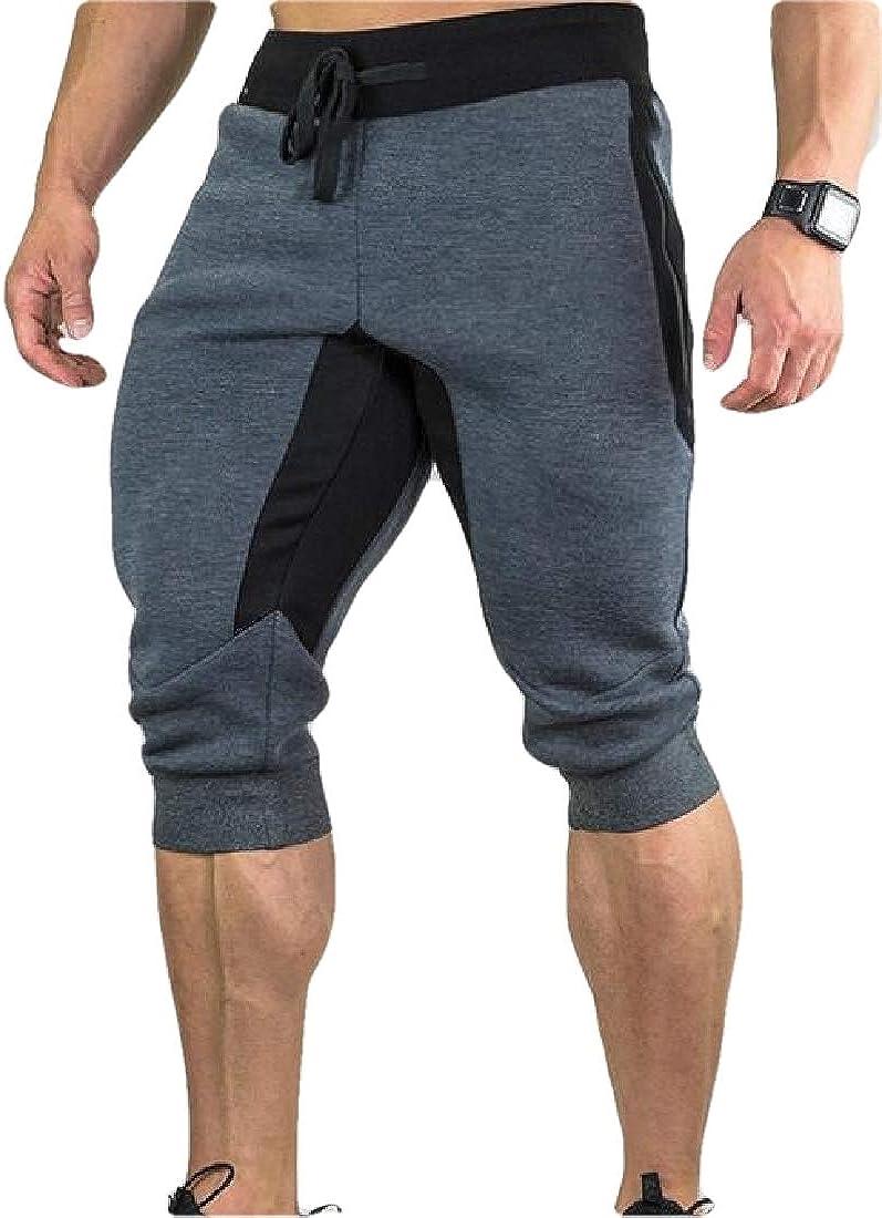 Spirio Men Running Elastic Waist Fashion Workout Contrast Color Quick-Dry Shorts