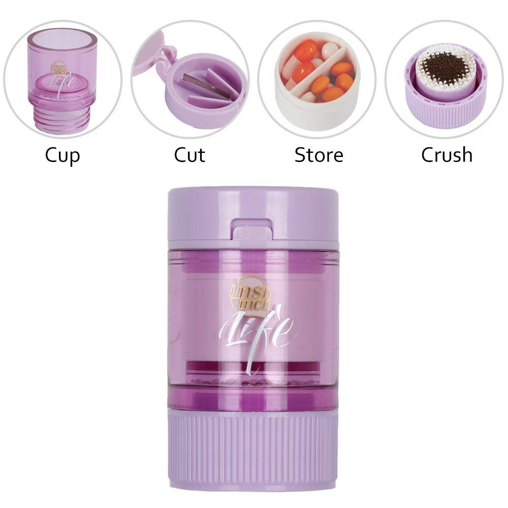 SCTD Pill Crusher & Splitter - 4 in 1 Small Pill Cutter Medication Grinder Powder Storage Cup for Infant Baby Kid Elder, Travel Pill Case Holder, Purple