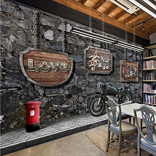300cmX250cm Snack bar coffee house kitchen Retro nostalgia motorcycle bar background painting wallpaper mural by ZLJTYN