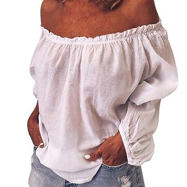 PANPANY Camicie da Donna a Maniche Lunghe Allentate Casual