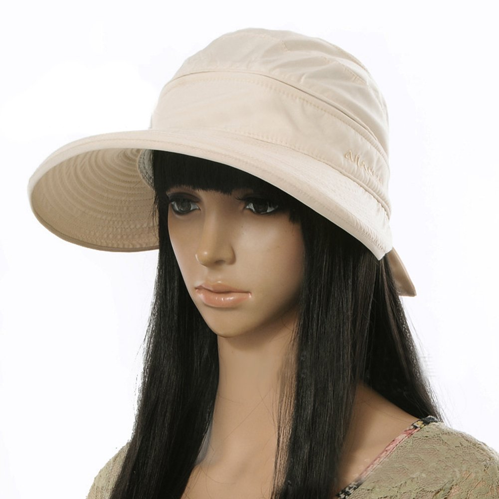 Marrywindix Handmade Chic Fashion Ladies Woman Bohemia Bowknot Summer Dual Purpose Two Uses Polyester Hat Braid Sun Visor Floppy Fold Summer Swimming Beach Hat (Beige)