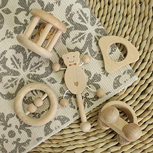 Promise Babe Puzzle Toys Montessori Teether Toys Set Baby Wooden rattles Interesting Toys 5pc Nursing Wooden Teether Rattles