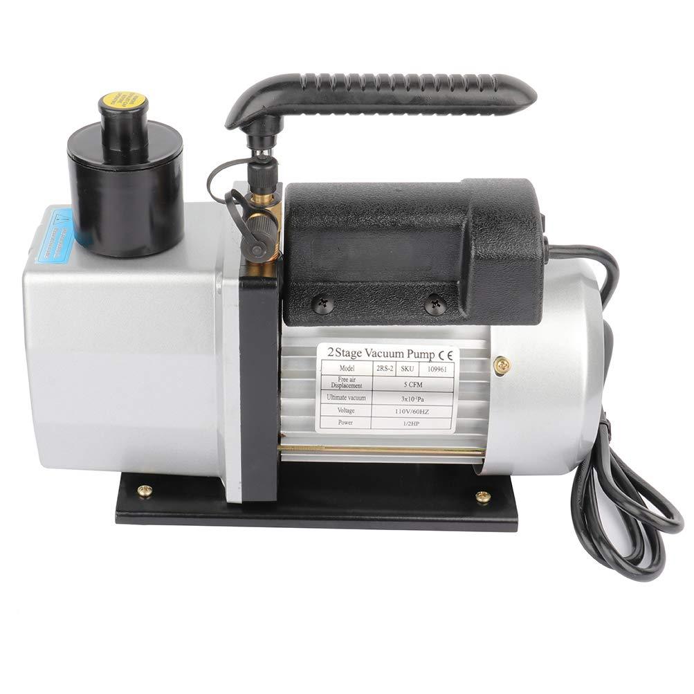 SCITOO 5CFM 1//2HP Dual Stage Rotary Vane Economy Vacuum Pump Deep Air Refrigerant Conditioning