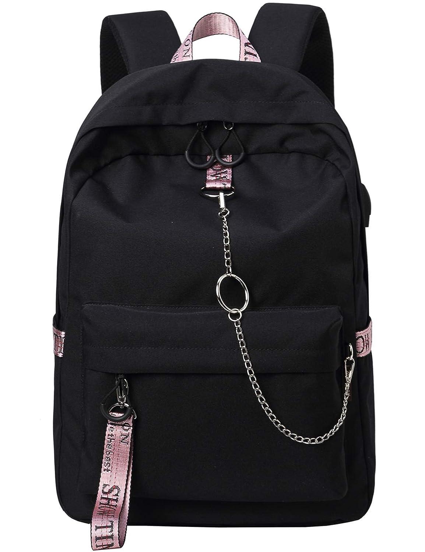 4c88f23889dec Amazon.com: El-fmly Fashion Backpack with USB Port,Casual Lightweight Backpacks  Cute Bookbag Shoulder Bag School Backpack for Teen - Black+Pink: LIUZI ...