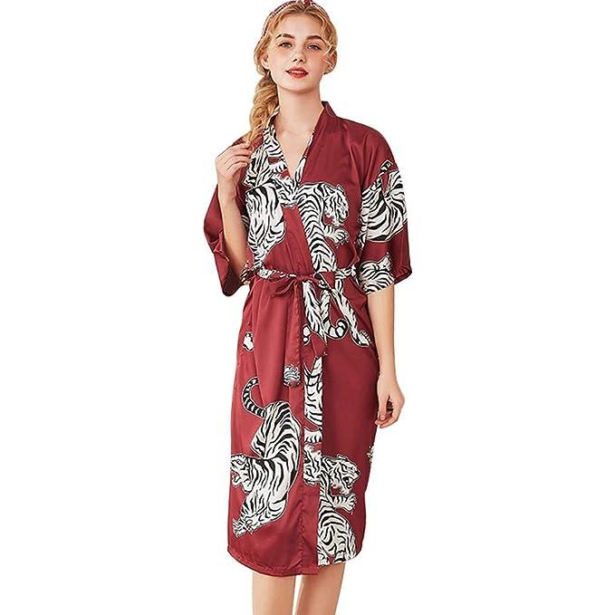 Vestidos Kimono de Seda Sintética para Mujeres, Vestido de Flores con Mangas Largas Bata de Baño por Mitad de la Pantorrilla Cárdigan: Amazon.es: Ropa y ...