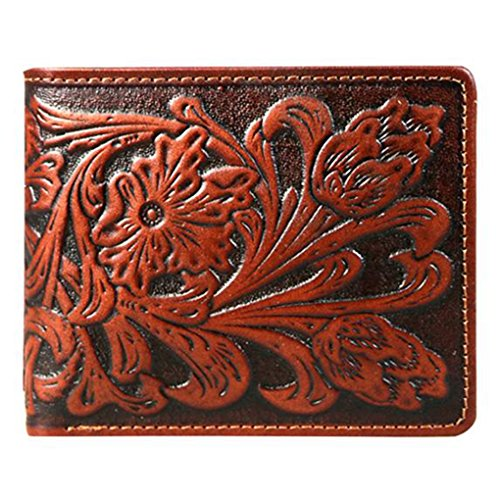 Genuine Leather Tooled Men's Wallet & Key Foab (Brown Floral w charger cors) (Tooled Leather Luggage)