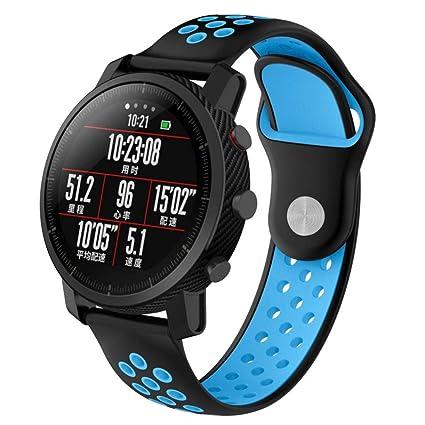 Zolimx Deporte Elegantes Cuero Pulsera Suave Silicona Correas de Reemplazo para Reloj Xiaomi Huami Amazfit 2/2S Smartwatch (Azul)