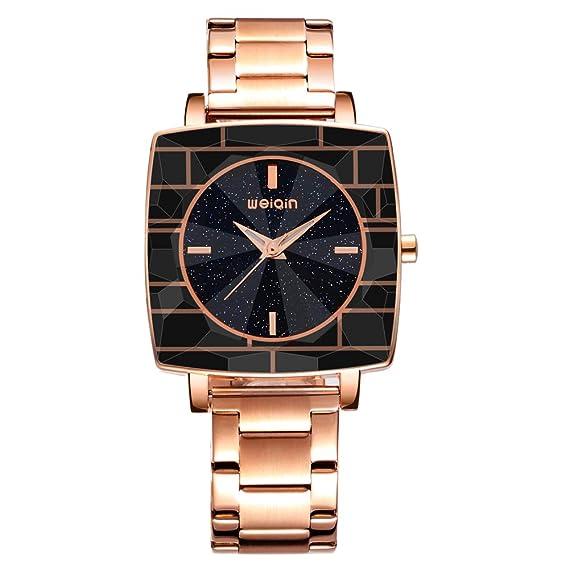 Relojes de Mujer Oro Rosa de Lujo Rectangular Estrella dial Impermeable Cuarzo analógico señoras Relojes Pulsera Reloj Mujer Weiqin: Amazon.es: Relojes