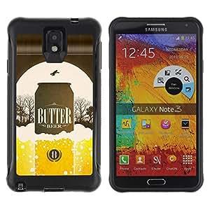 Be-Star único patrón Impacto Shock - Absorción y Anti-Arañazos Funda Carcasa Case Bumper Para SAMSUNG Galaxy Note 3 III / N9000 / N9005 ( Beer Can Golden Bottle Poster Advert )