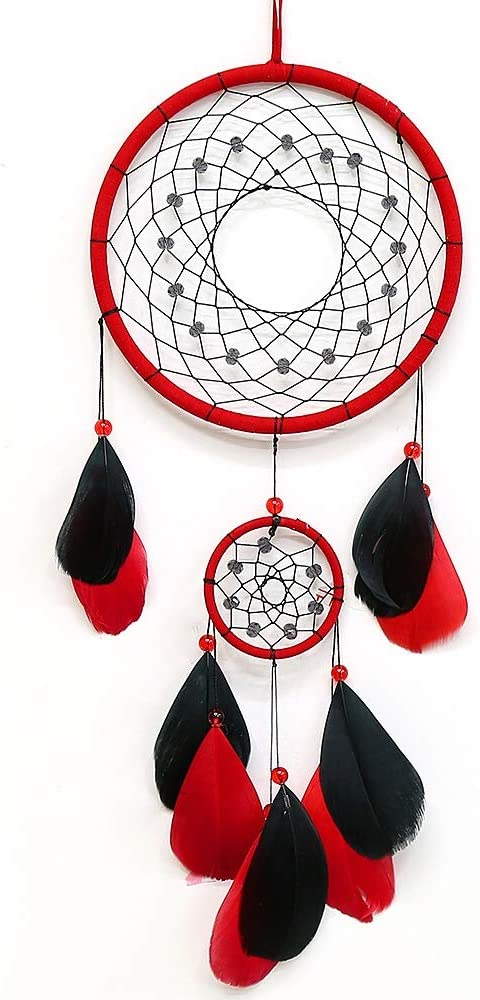 Tellpet Red Dream Catchers, Dream Catcher for Wall Decor, Traditional Dreamcatcher Red Feather Wall Hanging Decoration