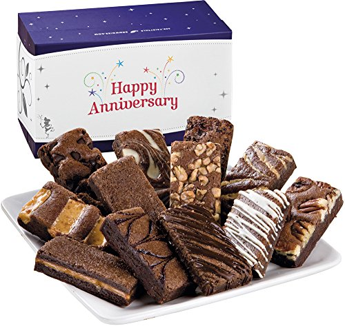 Fairytale Brownies Anniversary Sprite Dozen Gourmet Food Gift Basket Chocolate Box - 3 Inch x 1.5 Inch Snack-Size Brownies - 12 Pieces