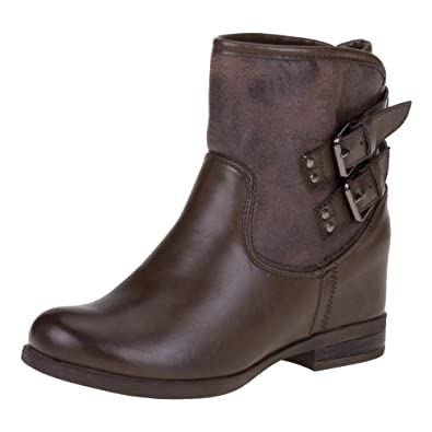 Ital-Design - Botas Antideslizantes de material sintético mujer, color marrón, talla 37
