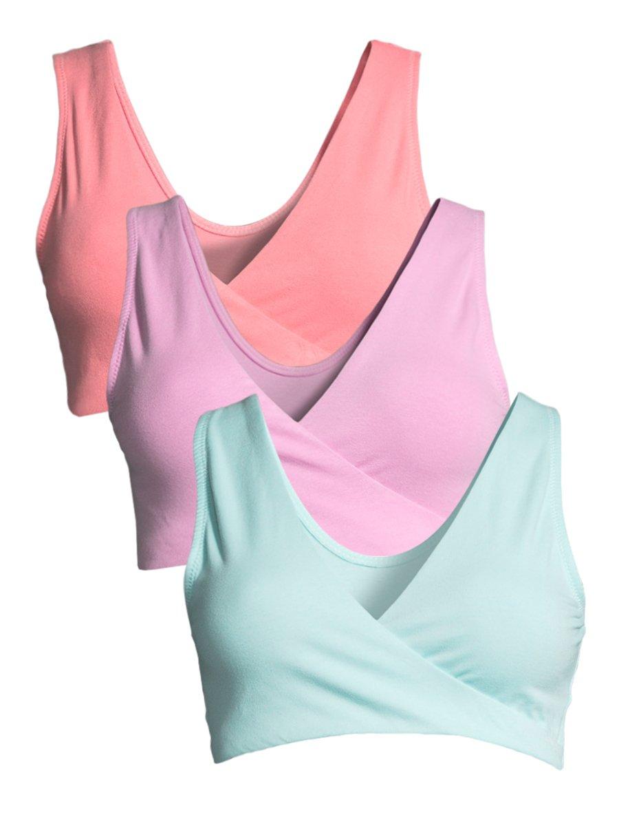 Lamaze Women's 3 Pack Maternity Overnight Nursing Wide Band Shoulder Straps Bra Beach Blossom/Cool Mint/Sugar Coral Medium