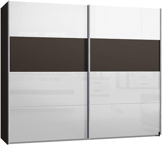 Armario de puertas correderas, armario, aproximadamente 270 cm, marrón cristal blanco, Compra de fábrica, puerta corredera: Amazon.es: Hogar