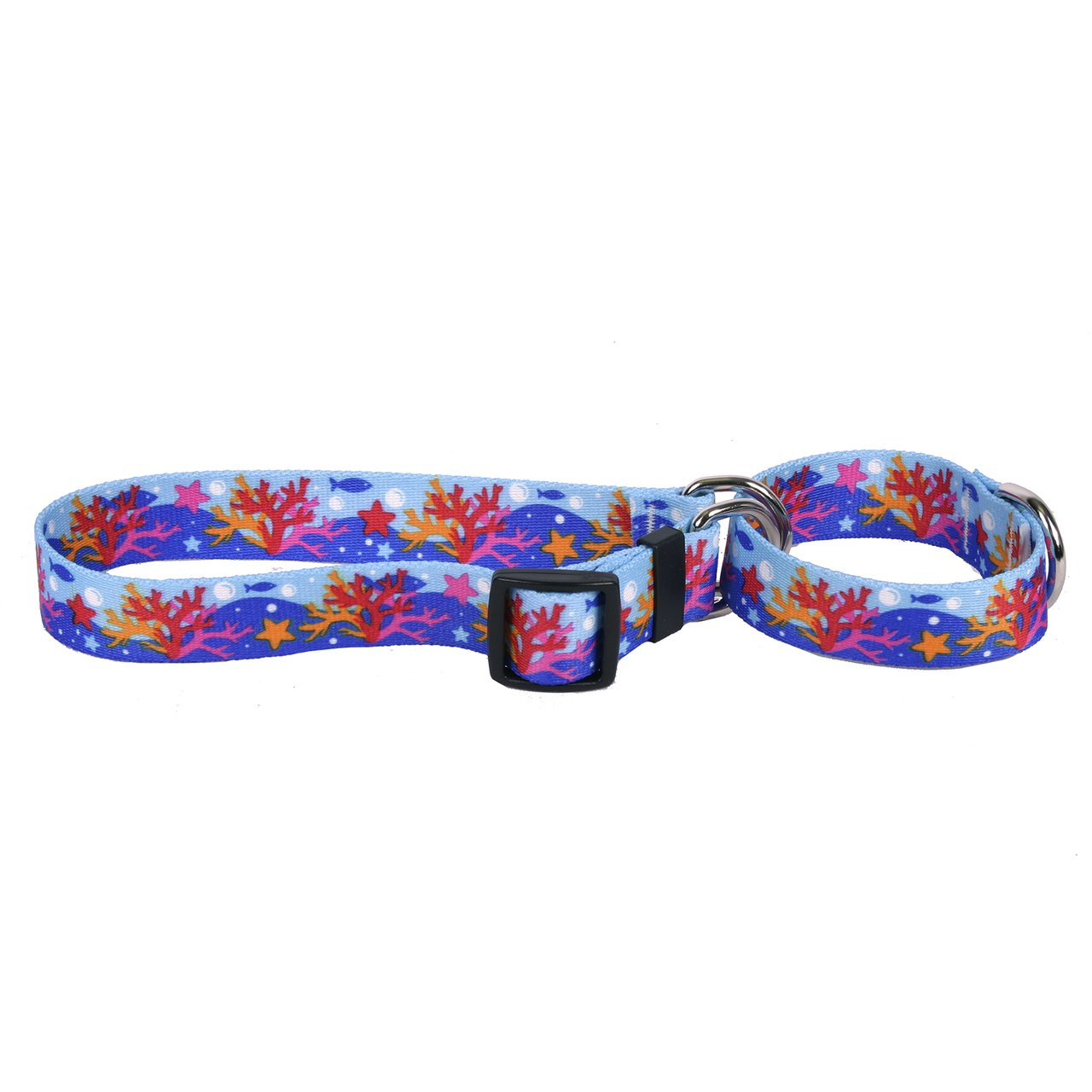 Extra Small 10\ Yellow Dog Design Coral Reef Martingale Dog Collar Fits Neck 9 To 12 , X-Small 3 4