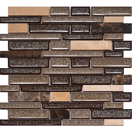 (Crackled Glass and Stone Mosaic Tile,