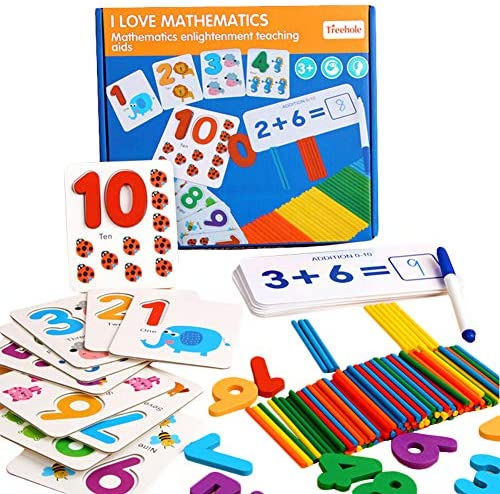 HWD Seeing and Matching Mathematics Learning Toys Puzzles Wooden Sticks Addition and Subtraction Sight Numbers Games Montessori Preschool Educational Toys for Toddlers Kids Boys Girls