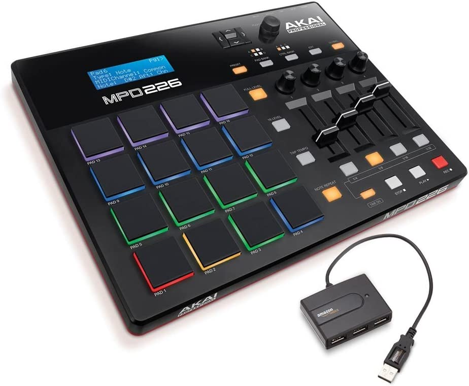 Akai Professional MIDI Drum Pad Controller with Software Download Package with AmazonBasics 4-Port USB