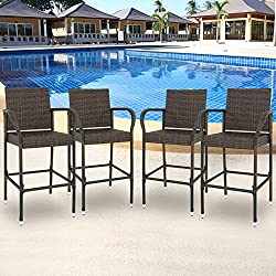 SUPER DEAL Wicker Bar Stool Outdoor Backyard Rattan Chair Patio Furniture Chair w/Iron Frame, Armrest and Footrest, Set of 4