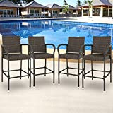 SUPER DEAL Upgraded Wicker Bar Stool Chairs Outdoor Backyard Rattan Chair w/Iron Frame, Armrest and Footrest (4)