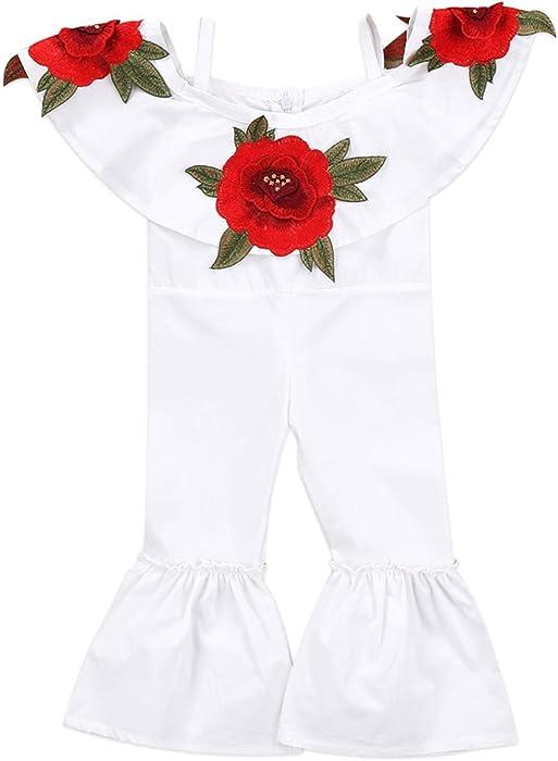 665ad04a7 Amazon.com  Baby Girls Off Shoulder 3D Rose Romper Halter Jumpsuit ...