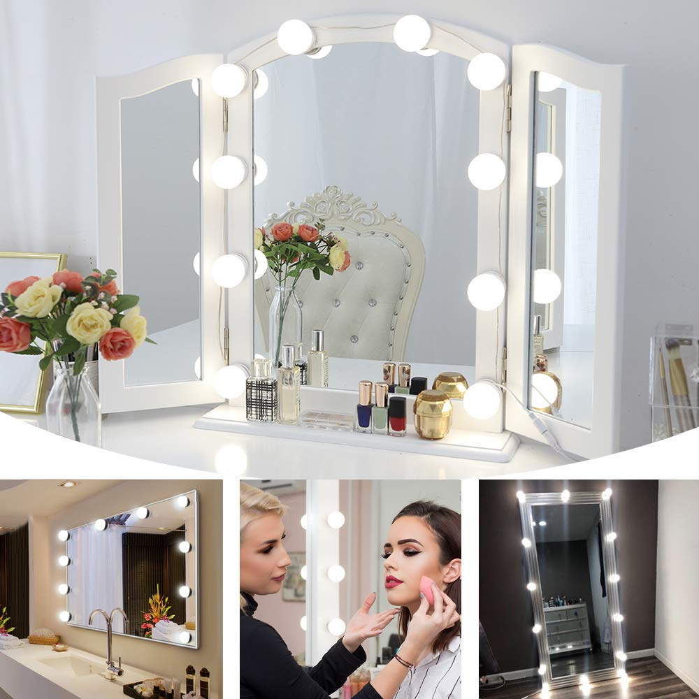 Chende Hollywood Style LED Vanity Mirror Lights Kit with Dimmable Light Bulbs, Lighting Fixture Strip for Makeup Vanity Table Set in Dressing Room (Mirror Not Include) by Chende (Image #8)