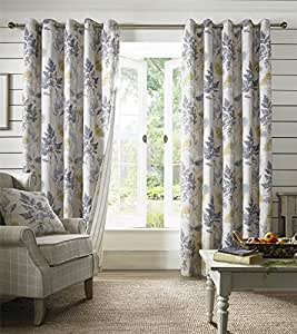 """FALLING LEAVES STRIPE BLUE GREEN LINED 46"""" X 90"""" - 117CM X 229CM RING TOP CURTAINS DRAPES"""