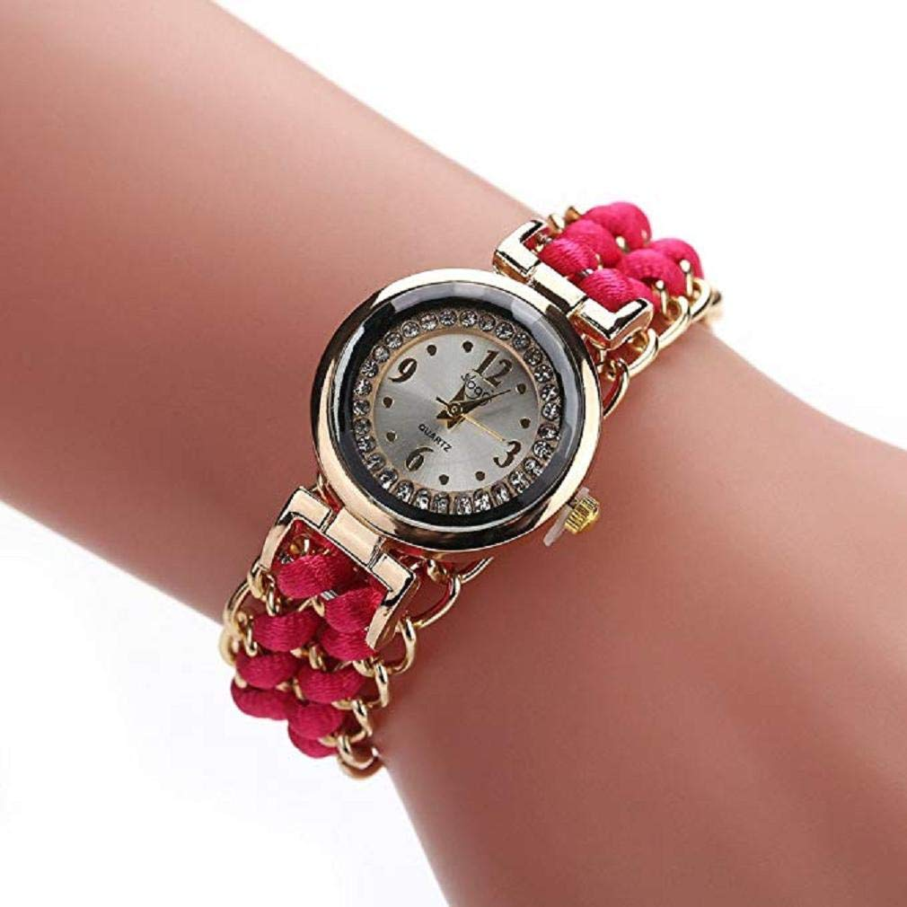 Fashion Clearance Watch! Noopvan Women Quartz Watches Analog Ladies Watches Girl Watches Leather Female Watches-A17 (Red)