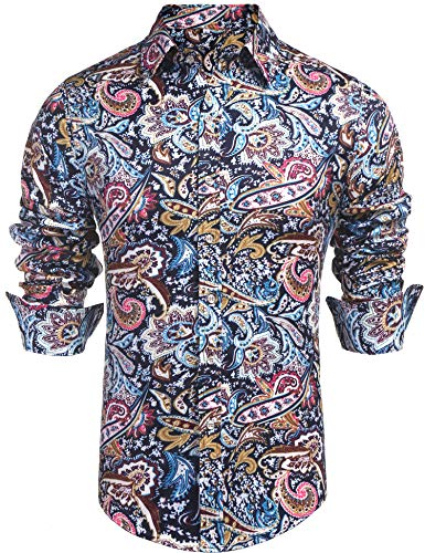 Daupanzees Mens Paisley Dress Shirt Fashion Noble Long Sleeve Vintage Italian Button-up Print Luxury Casual Button Down Shirts (Blue XL)