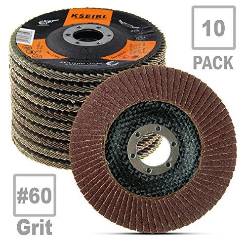 KSEIBI Aluminum Oxide 4 1/2 Inch Auto Body Flap Disc Sanding Grinding Wheel 10 Pack (60 Grit) by KSEIBI