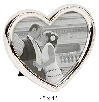 Amazon.com - Elegant Silver Plated Heart Shaped Photo Frame By ...