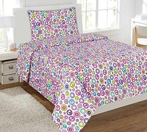 - Mk Collection Sheet Set White Pink Purple Teel Green Peace Sign Teens/girls Multi Color Peace Circle New (Full)