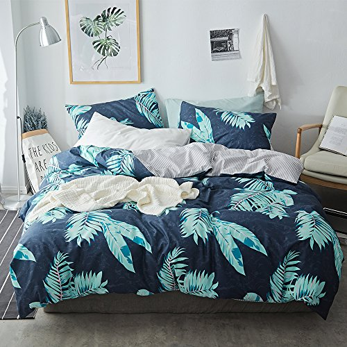 DaLove New Striped Geometric Printed Duvet Cover Sets Toddler Adults Soft Bedding Collections Durable Skin-Friendly 200 Thread Count Tropical Queen Full Bedding Sets for Children, 4 Corner Ties