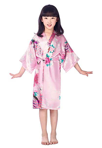 98b08d34ca Amazon.com  EPLAZA Girls Children Satin Robe Bridesmaid Dressing Gown  Children Bathrobe Peacock Sleepwear (14