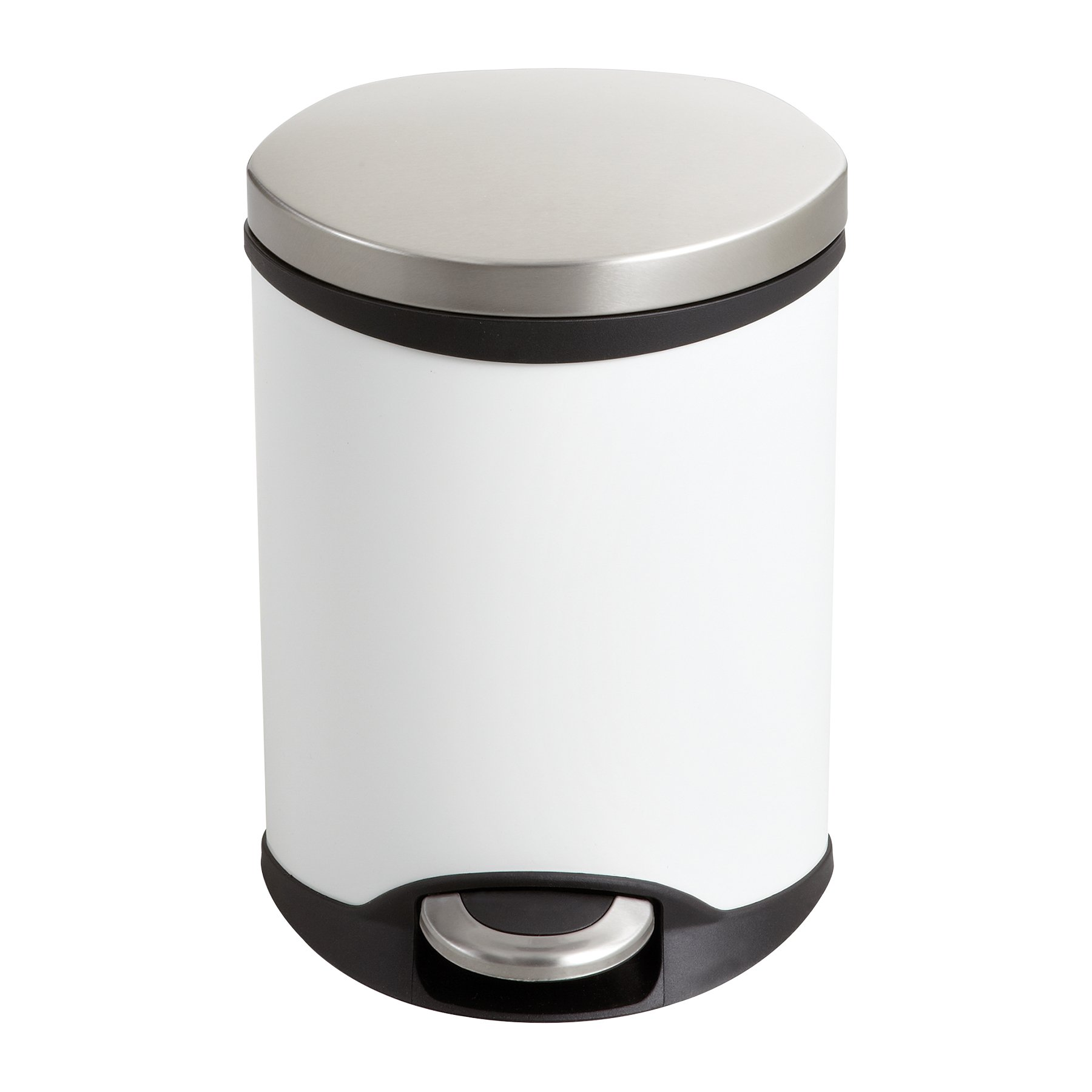 Safco Products 9900WH Ellipse Step-On Trash Can, 1 1/2-Gallon, White