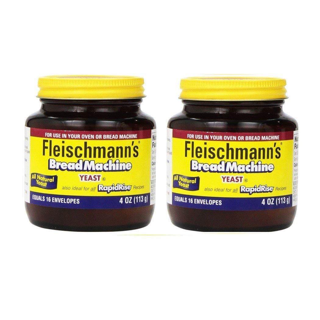 Fleischmann's Yeast for Bread Machines, 4-ounce Jars, (Pack of 2) by Fleischmann's