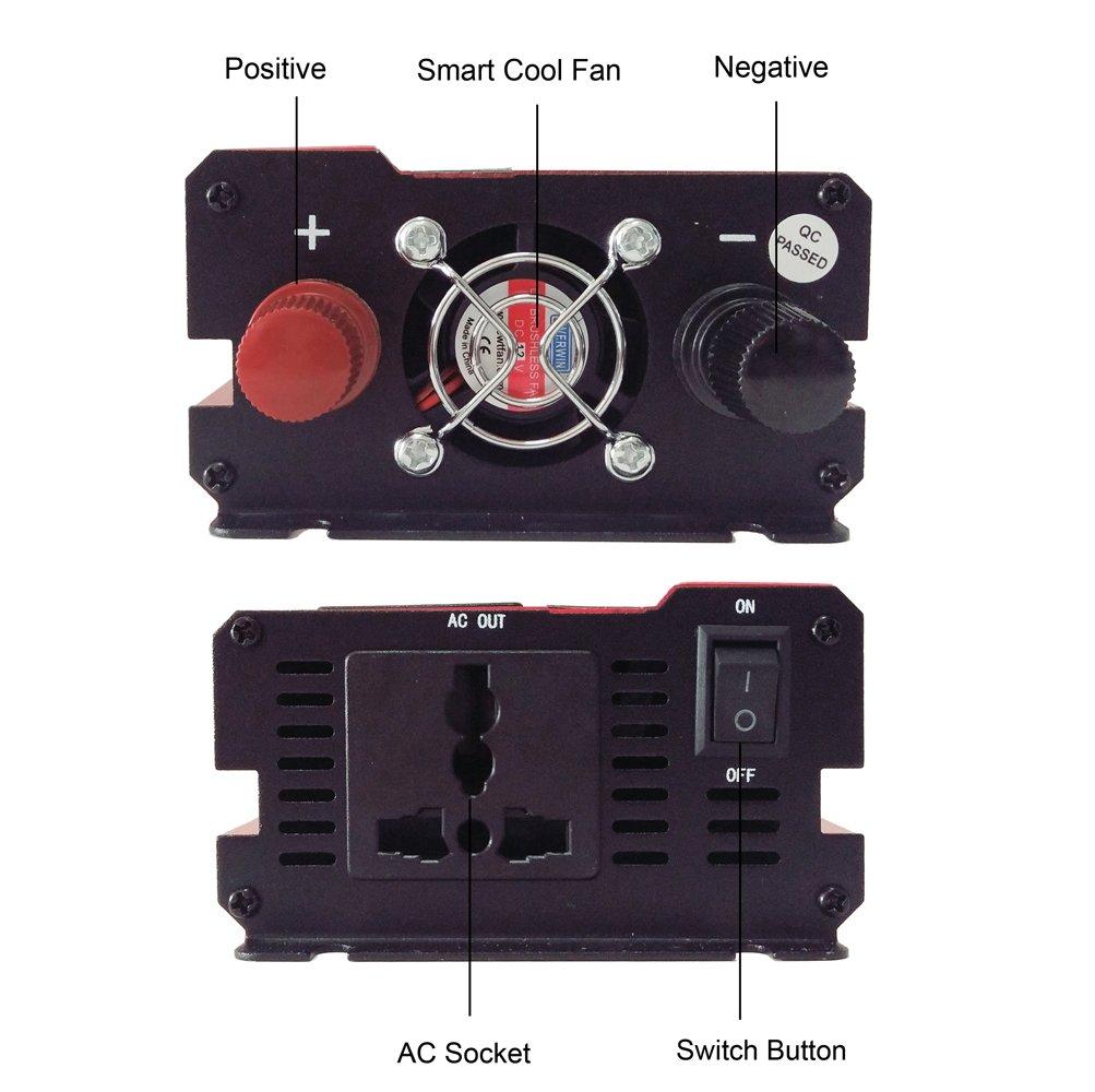 Inversor de la energ/ía del coche DC 12V a la CA 220V 1000W Convertidor del veh/ículo Inversor del coche Fuente de alimentaci/ón Interruptor Cargador a bordo