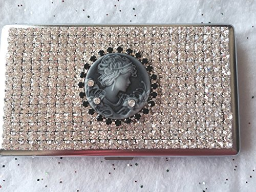 (Cameo Style Crystal Rhinestone Cigarette Box Case for 100s 120s - USA - Sparkly! (Black Cameo, Stainless Steel))
