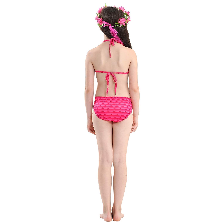 WhiFan M/ädchen Meerjungfrau Badeanzug 3pcs Bikini Sets M/ädchen Cosplay Kost/üm Badebekleidung