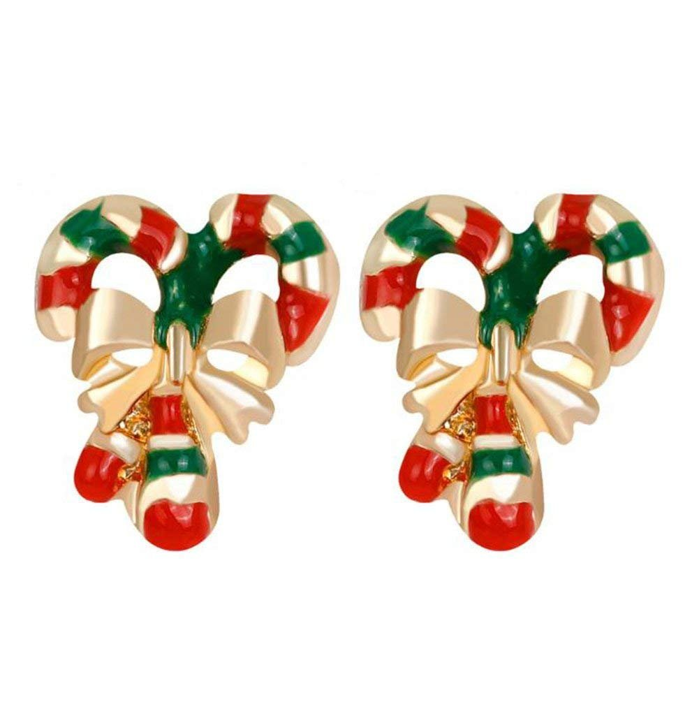 DDG EDMMS 1 Pair Women's Earrings Christmas Santa Claus Crutch Style Earrings Colorful Jewellery with Unique Design Earring Stud Party Jewelry Gift DDG EDMMS