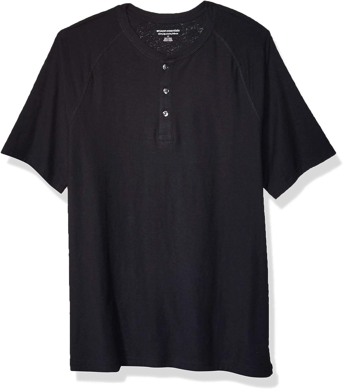 Maglietta da uomo a maniche corte senza colletto con bottoni in cotone fiammato Essentials