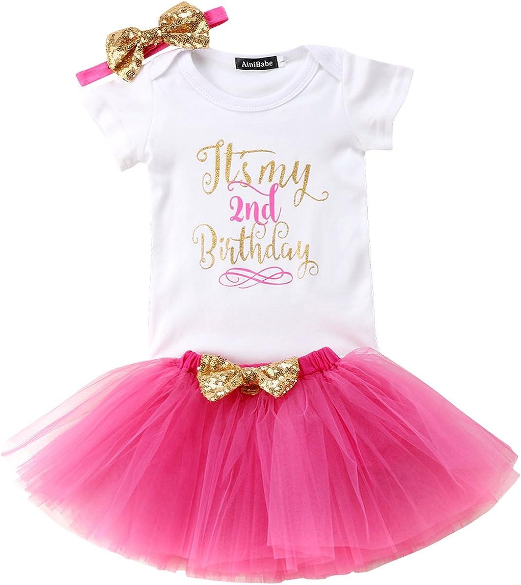Flower Tiger Baby Girl Newborn Its My 1st//2st Birthday 3pcs Outfits Romper+Skirt+Headband