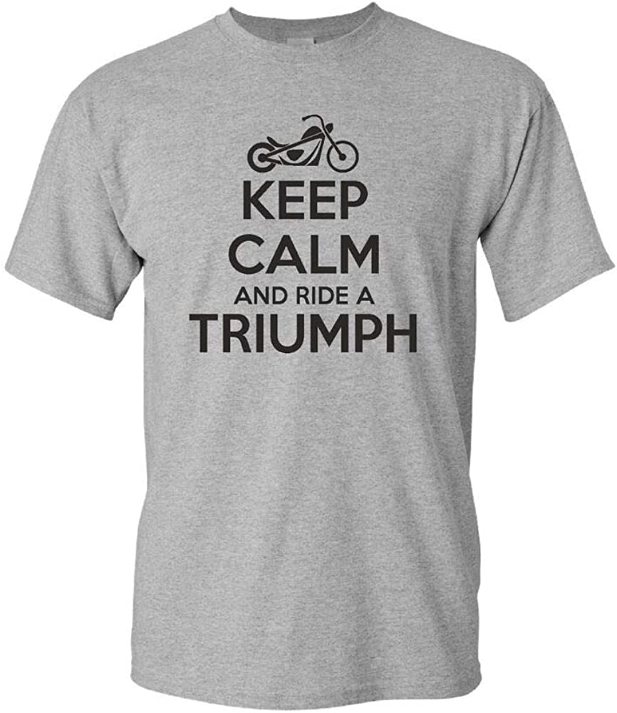 Keep Calm Ride Triumph Funny Mens t Shirt Motocycle Bike Moto