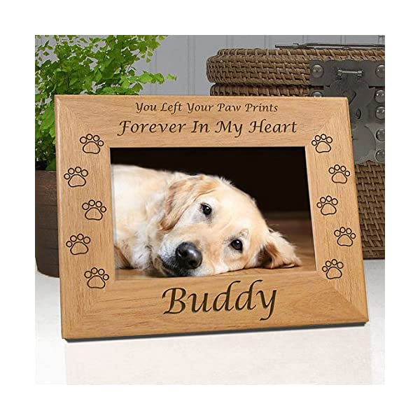 Dog Memorial Frame - Personalized with Dog\'s Name - Quality Wood Frame  Holds 4x6 Picture - Choice of 9 Different Quotes - Free Sympathy Card &  Gift ...